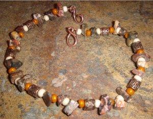 Forgotten Temple bracelet - Leopardskin jasper & antique copper