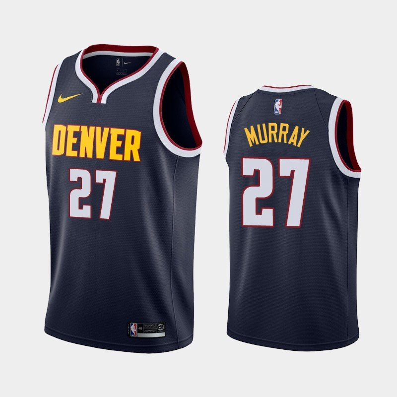 newest 24ff1 d453a Men's Denver Nuggets #27 Jamal Murray Icon Jersey Navy blue