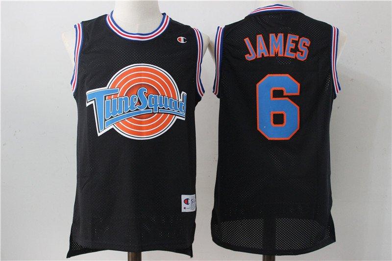 size 40 b7c82 cb242 Men's Space Jam Movie LeBron James Tune Squad Black Basketball Jersey  Stitched