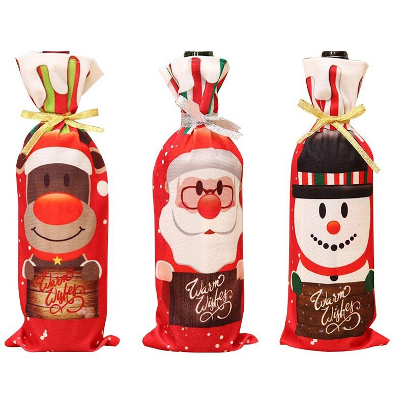 Christmas decorations gift bag wine bottle cover