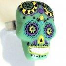 Colorful Sugar Skull - Green  - FREE SHIPPING