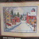 1990 Cross Stitch Kit Sunday Morning Snowfall #3911 Houses Country Church 16x12