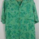 Caribbean Joe 100% silk XL  SS w/ pocket green floral Aloha hawaiian
