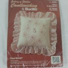 Candlewicking kit for pillow by Bucilla Floral Wreath #49500 with ruffle