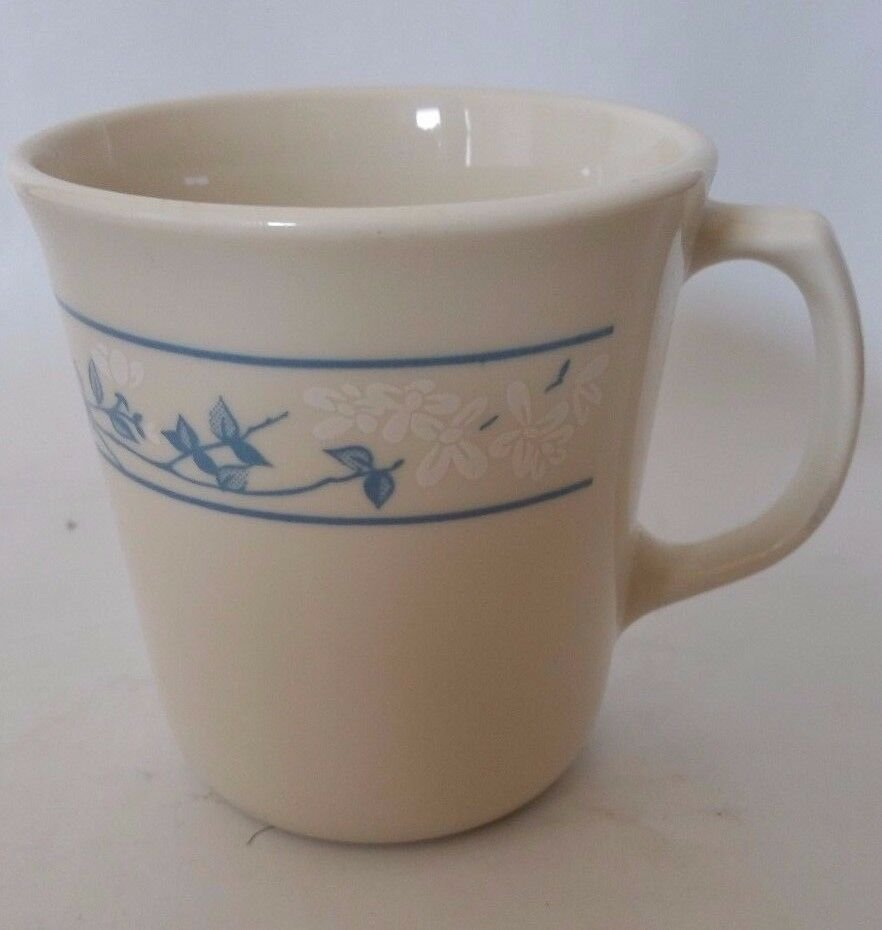 First of Spring Corning Corelle Coffee mug made in USA tiny white flowers