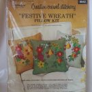 "1972 Paragon Gold ""Festive Wreath"" Fruit & Flowers Linen Crewel Pillow Kit 0542"