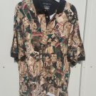 mens Dockers XL golf polo shirt banded collar and sleeves 100% cotton golf print