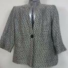 womens plus 20W Black and white boucle blazer 3/4 length sleeve pockets