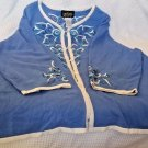 3X Bob Mackie blue cardigan sweater white trim 3/4 sleeves embroidered