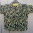 Mens 4XL Island Blue Rayon Hawaiian shirt. Green floral pattern Aloha