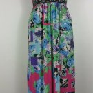 womens plus 3X multi colored long dress with empire waistline accented with stud