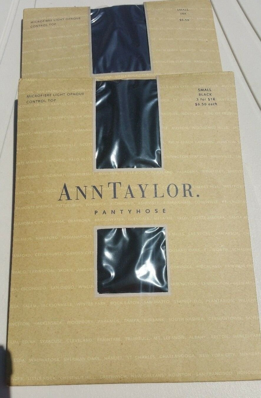 Ann Taylor Pantyhose size S Microfiber Light Opaque Control Top Ink and Black