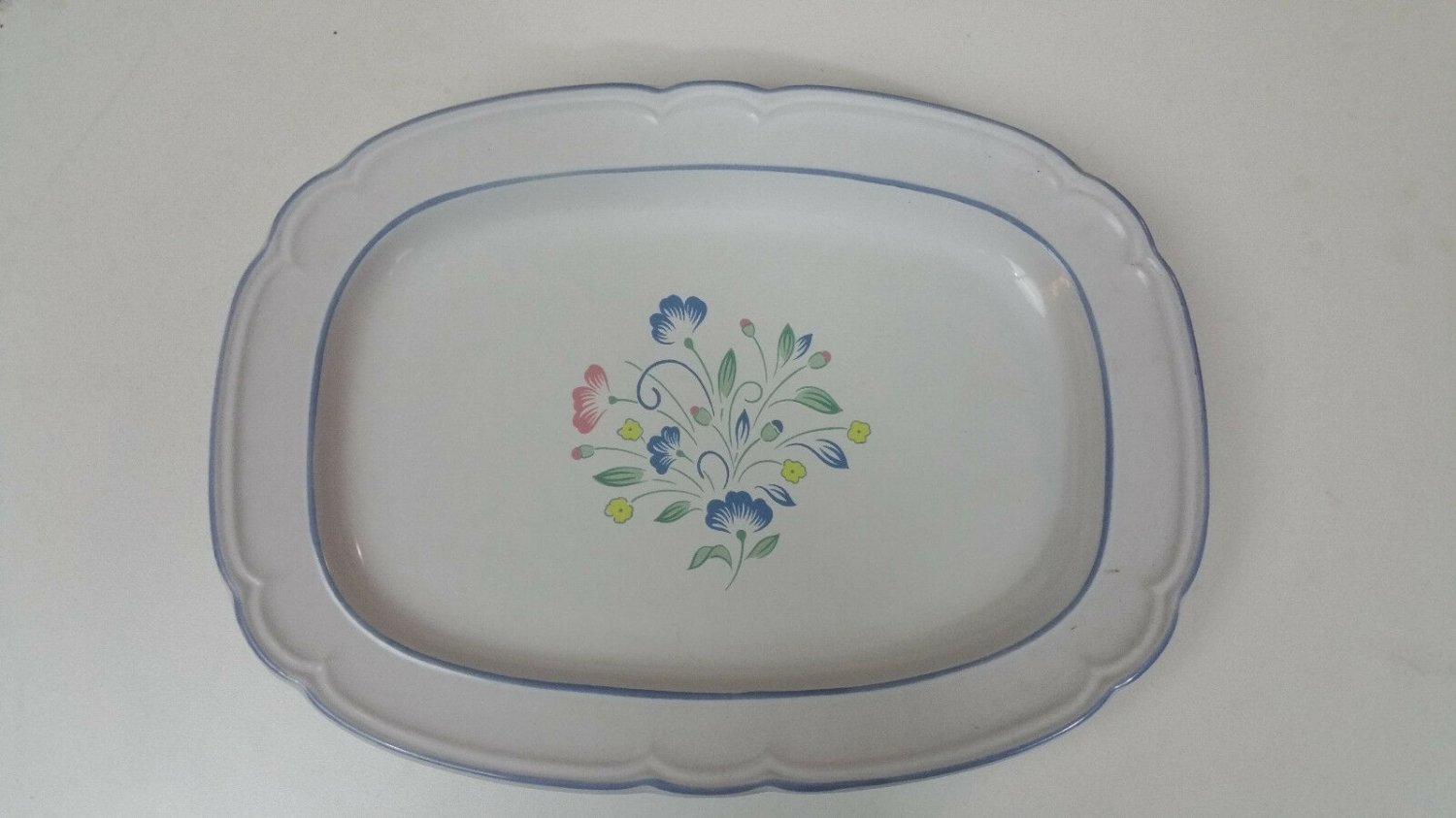 Floral Expressions hand decorated stoneware platter made in Japan