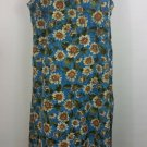 lady Darian size 26 Blue floral maxi dress sleeveless sunflowers vintage