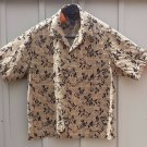 mens XXL 2XL 100% silk SS shirt by Claiborne. Tan or beige Short sleeve