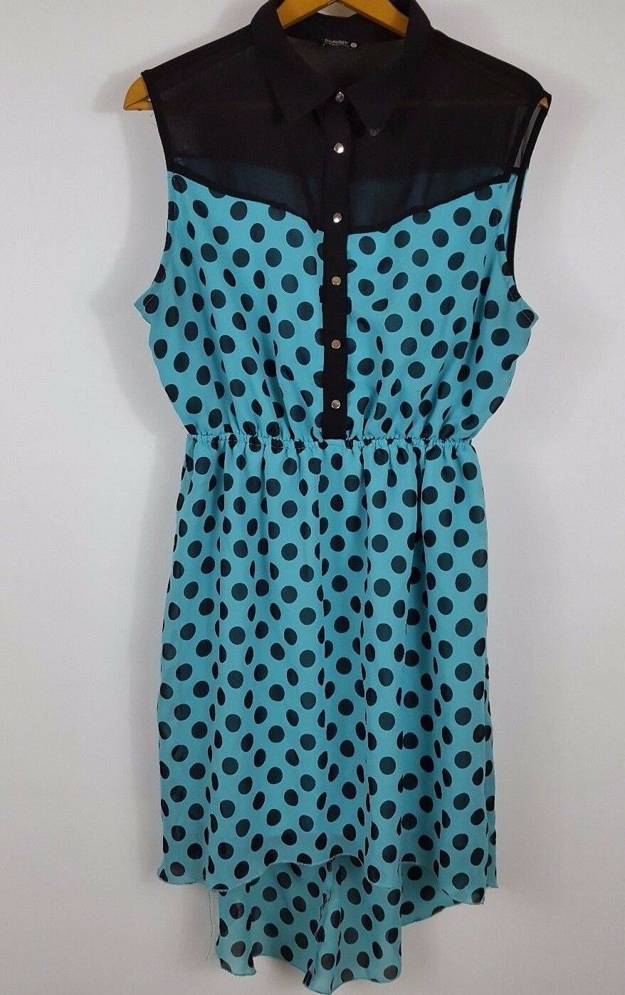 womens 1X plus size blue polka dot dress with high low hemline