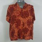 Hilo Hattie womens L Rayon casual rayon shirt. Made in hawaii. Orange red
