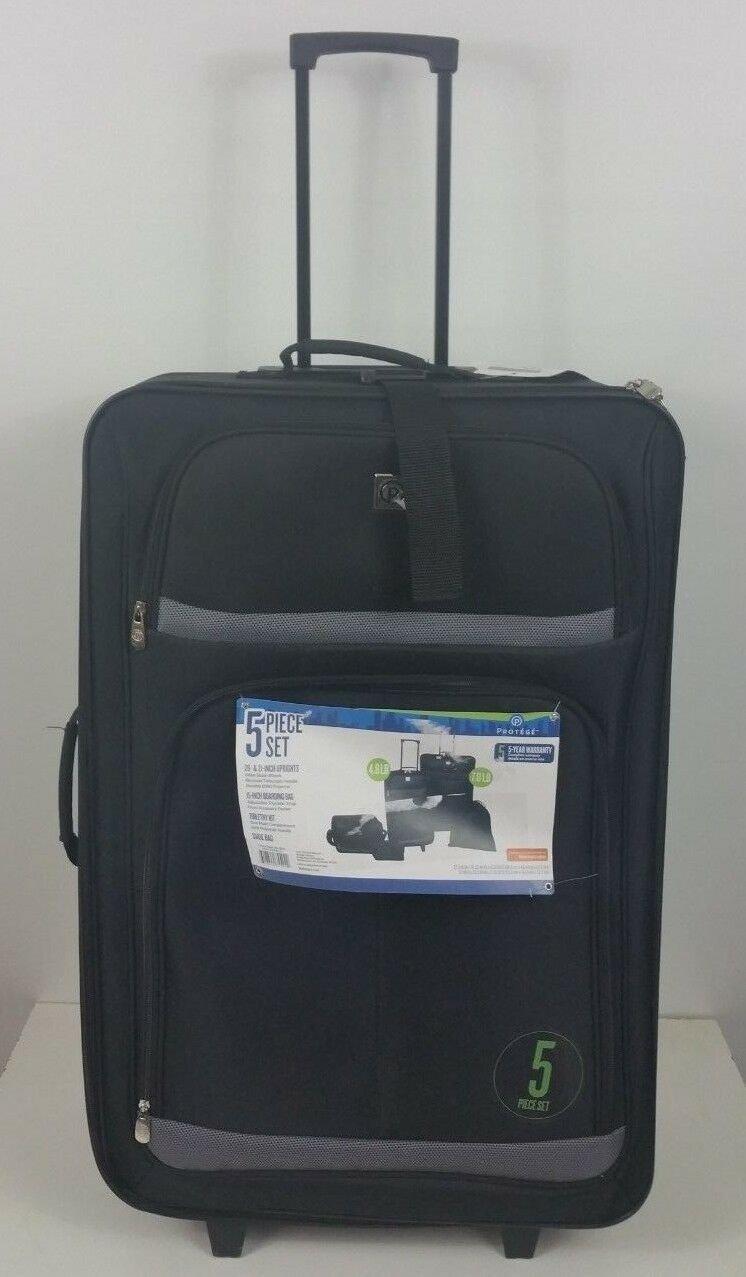 "5 Pc Luggage Set, Black 28"" & 21"" suitcase, carryon, shoebags, rucksack & beauty"