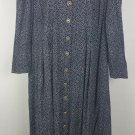 womens plus 28W navy w/ polka dots dress button front vintage made in USA