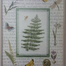 Leisure Arts Woodland Fern cross stitch kit also contains mat and golden charm