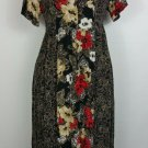 women red flowered dress with side panels of green size 16? see measurements