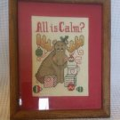 Framed Needlepoint Chris Moose Christmas Matted And Framed Completed All is Calm