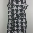 womens plus 22W black and white sleeveless dress with belt Houndstooth pattern