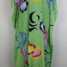 Panang Kaftan XL Bright green with wild graphics 60's style Boho Hippie Beach