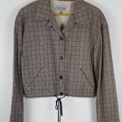 womens 10/ 44 brown windowpane  Emanuel Ungaro cropped  jacket blazer lined