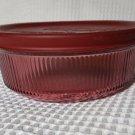 Corningware Cranberry Visions 1 pint round casserole w/ plastic lid vintage