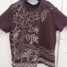 Womens L Erika t shirt with tags attached brown with paint and beads zebra
