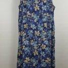 womens plus 32W reversible shift jumper blue w/ flowers vintage sleeveless long