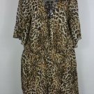 Womens plus 2X Bailey Blue leopard print dress 3/4 sleeves lined