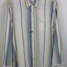 mens XL Tommy Bahama long sleeve silk cotton blend shirt striped blue green