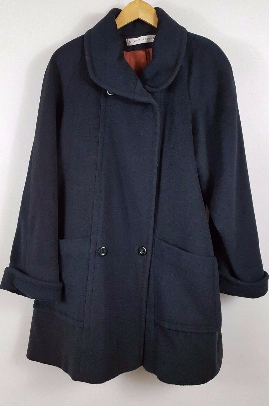 Womens Larry Levine Double Breasted Wool coat Black 3/4 length coat sz 6 vintage