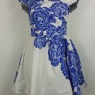 Bailey blue XL white with blue flowers flouncy dress cap sleeve
