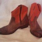 Western cowboy Sz 6.5 Ankle MIA Two Tone Brown orange-red Janet Boots Vegan zip