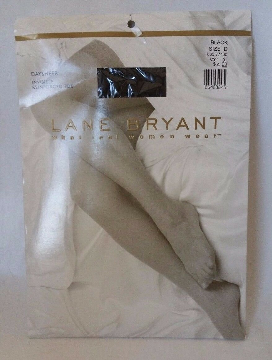 Lane Bryant size D Day sheer pantyhose White or Black Invisible reinforced toe