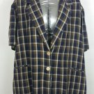 womens plus size 30w brown plaid blazer short sleeve made in USA lining