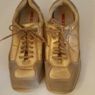 PRADA Sport Women's Tan Suede/Gold Leather Sneakers Shoes Size 7/37 cushioned
