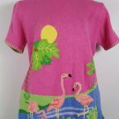 womens pink L SS sweater Quacker Factory Flamingos Palm trees water cotton blend