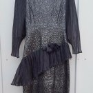 womens silver party dress trimmed in black tulle peplum style 10/12? see details