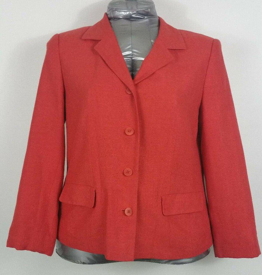 Nordstrom red orange silk Blazer size 14 Fully lined linen look