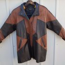 XS mens brown and black leather jacket vintage lined front slash pockets Pelle