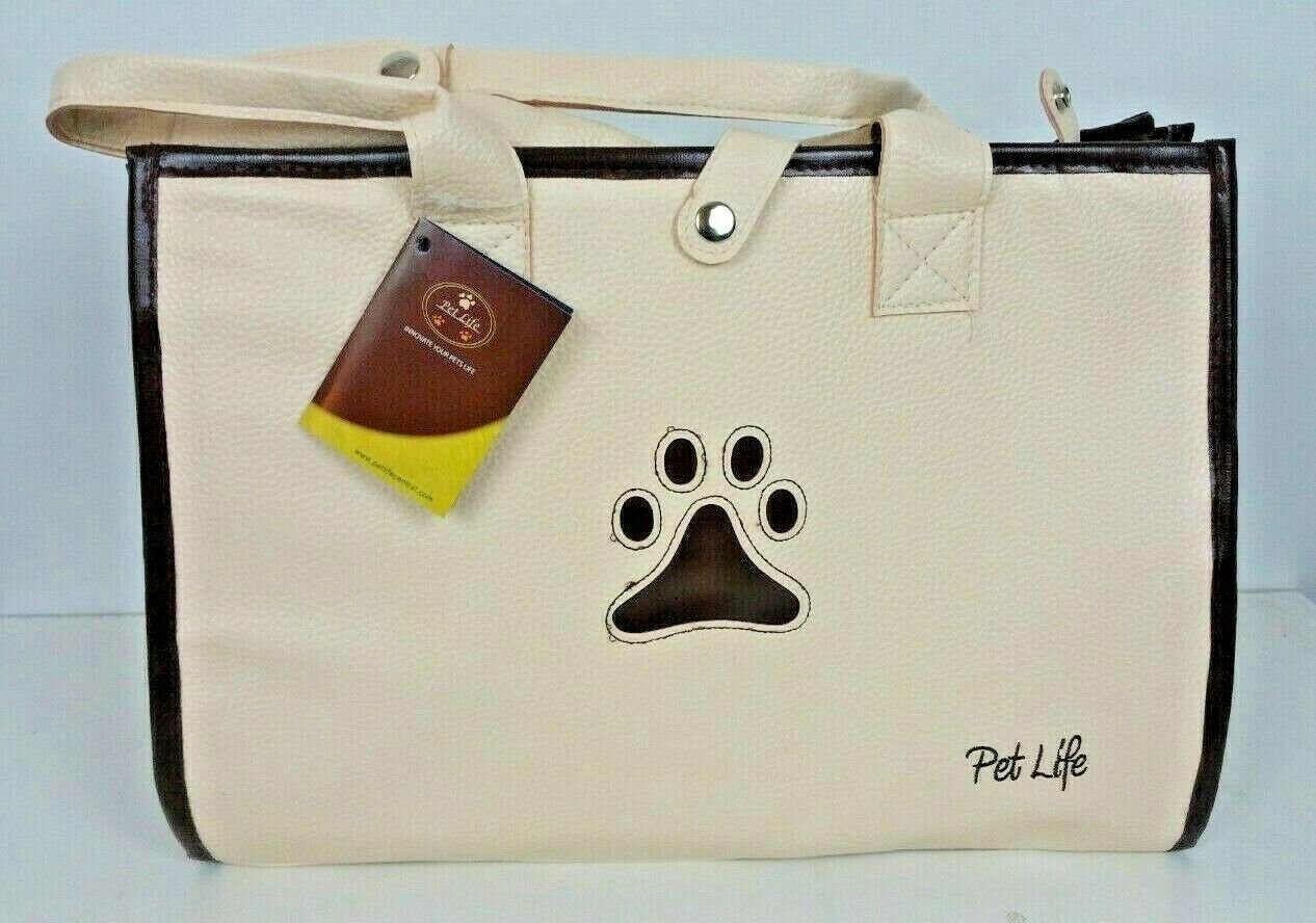 Beige and Brown Posh Paw Pet Carrier Purse style shoulder straps