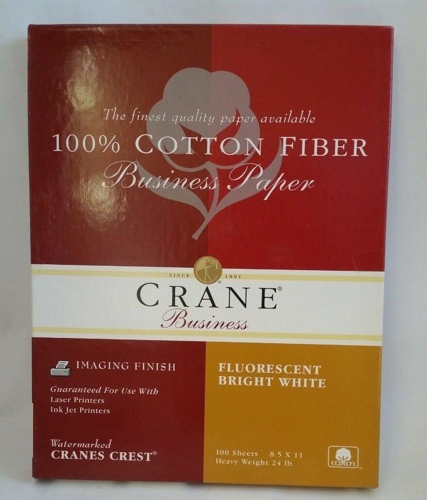 Crane Business 100% Cotton White Paper 100 sheets 24 lb. BB811S Bright White
