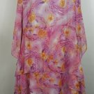 DG2 by Diane Gilman pink floral 1X dress with tiered skirt interesting sleeves