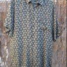 mens XL Robert Stock 100% silk short sleeve shirt Gray green with pattern