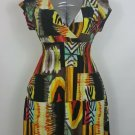 Christina Love colorful dress size XL cap sleeves smocked waist black yellow red