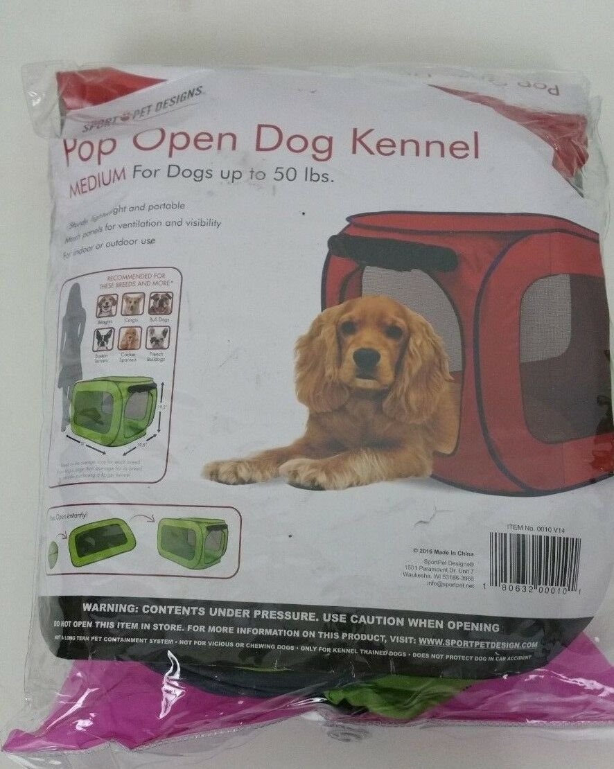 Sport Pet Designs Pop Open Dog Kennel Medium Dogs Up To 50 lbs Green Portable